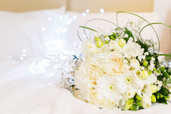 Bouquet of roses in bed Stock photo © neirfy