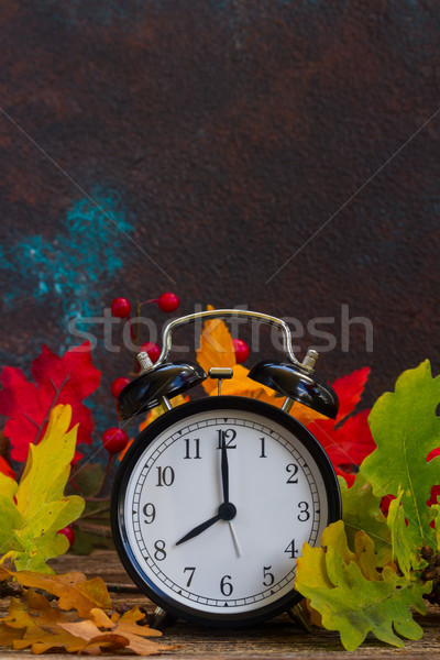 Autumn time - fall leaves with clock Stock photo © neirfy
