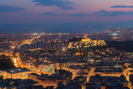 Cityscape Atenas noite Grécia panorâmico colina Foto stock © neirfy