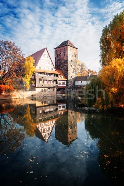 óváros Németország házak ősz retro égbolt Stock fotó © neirfy