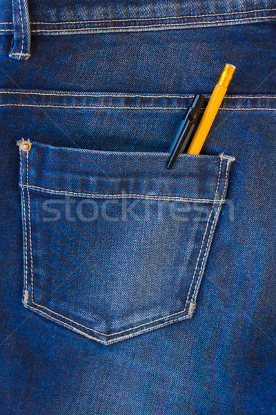 jeans pocket with pen and pencil Stock photo © neirfy