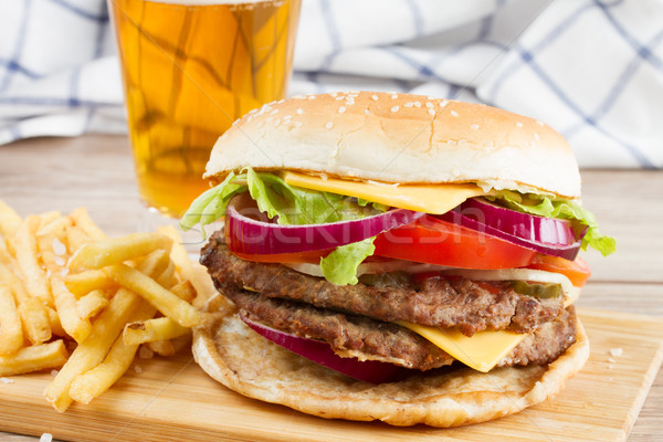 Big burger with french fries and beer Stock photo © neirfy