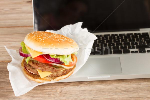 Almoço trabalhar lugar laptop fast-food negócio Foto stock © neirfy