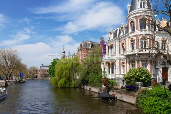 Stockfoto: Een · Amsterdam · holland · oude · binnenstad · voorjaar · dag
