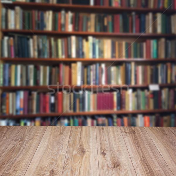 Scaffale vuota legno biblioteca stanza Foto d'archivio © neirfy