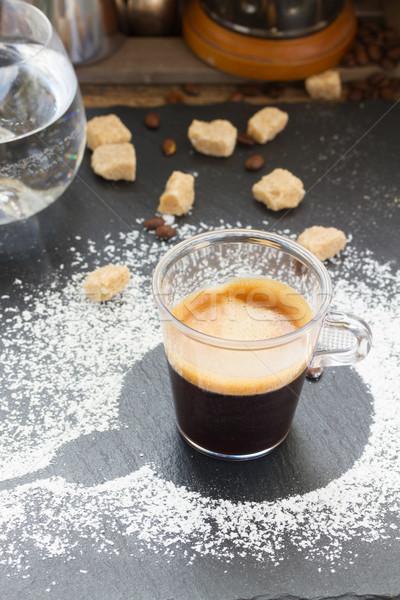 カップ コーヒー エスプレッソ 透明な ブラウンシュガー ガラス ストックフォト © neirfy