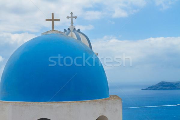 belfry and  caldera of Santorini island, Greece Stock photo © neirfy