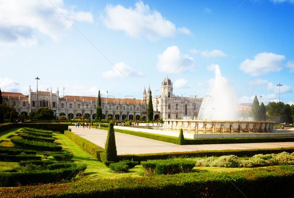 ストックフォト: リスボン · ポルトガル · 表示 · 噴水 · 夏 · 日