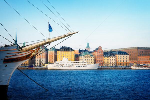 Panoramę Sztokholm Szwecja architektury starówka Zdjęcia stock © neirfy