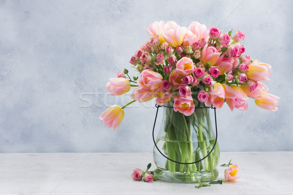 Pink and yellow tulips and roses Stock photo © neirfy