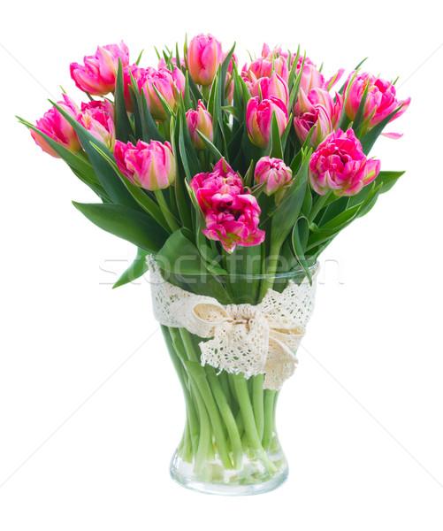 Ramo rosa tulipanes brillante vidrio jarrón Foto stock © neirfy