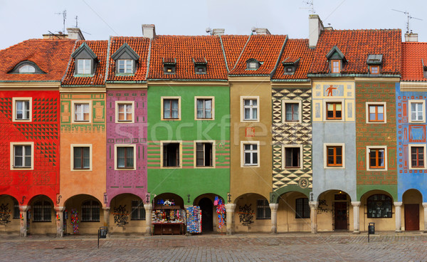 crooked medieval houses , Poznan, Poland Stock photo © neirfy