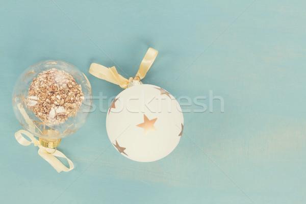 Kék fehér karácsony kettő golyók fából készült Stock fotó © neirfy