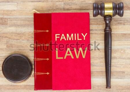 Fából készült törvény kalapács piros jogi könyv Stock fotó © neirfy