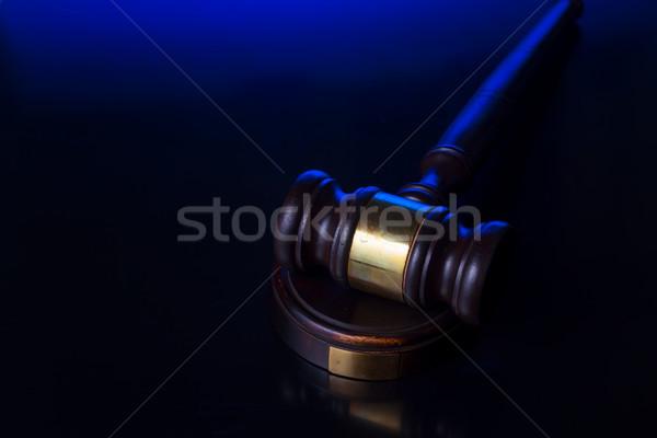 Stok fotoğraf: Hukuk · adalet · ahşap · tokmak · mavi · siyah
