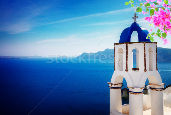 view of caldera with stairs and belfry, Santorini Stock photo © neirfy