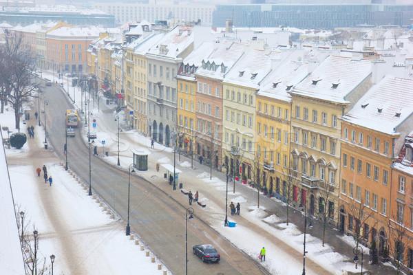 Varsavia Polonia vecchio centro strada inverno Foto d'archivio © neirfy