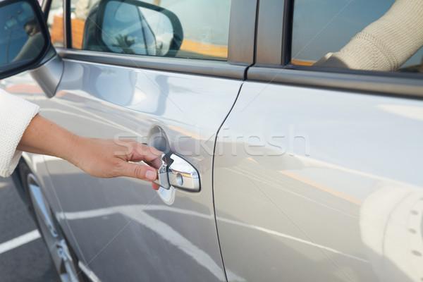 woman opens car door close up Stock photo © neirfy