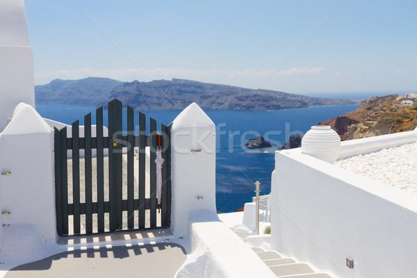 Gyönyörű részletek Santorini sziget Görögország kék Stock fotó © neirfy
