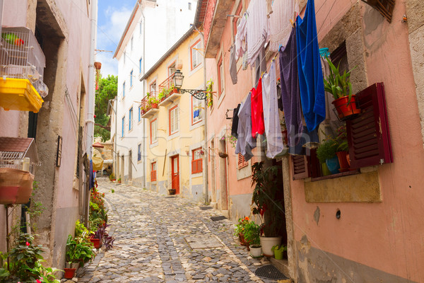 street in old town of Lisbon Stock photo © neirfy