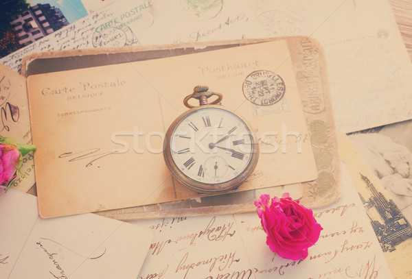 old letter  with  old clock Stock photo © neirfy