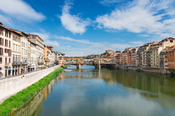 Köprü nehir Floransa ortaçağ evler Stok fotoğraf © neirfy