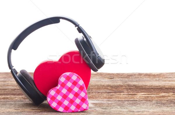 ストックフォト: ロマンチックな · 音楽 · 2 · 赤 · ピンク · 心