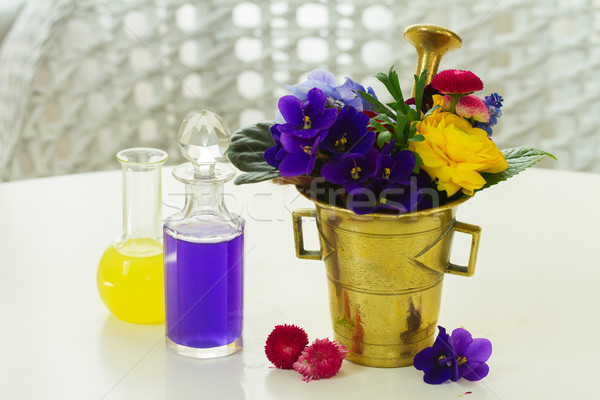 aromatherapy - flowers in mortar Stock photo © neirfy