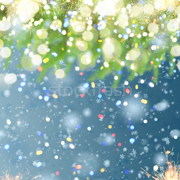 christmas background with fir tree and snow Stock photo © neirfy