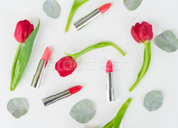 Colorful make up flat lay scene Stock photo © neirfy