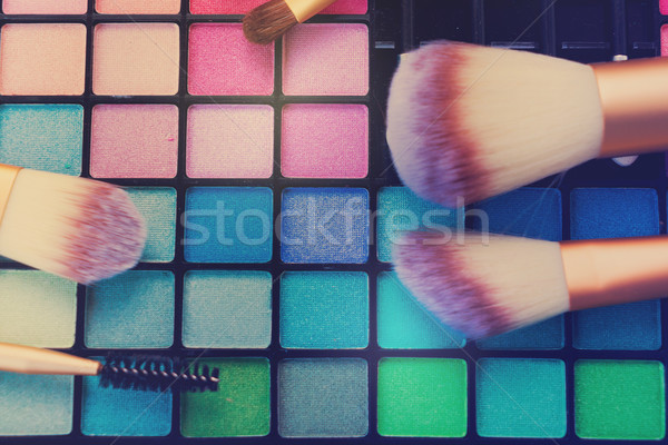 Brushes and eye-shadows palette Stock photo © neirfy