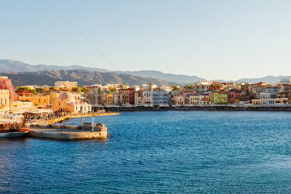 Velencei Görögország történelmi házak napos nyár Stock fotó © neirfy
