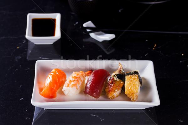 Сток-фото: Японский · суши · блюдо · белый · пластина