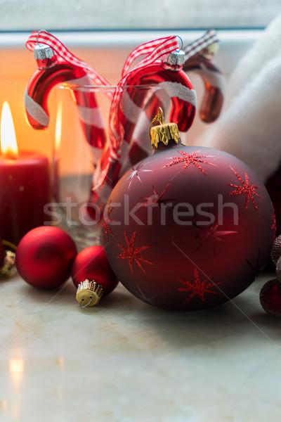 Рождества сцена подоконник украшения зима Сток-фото © neirfy