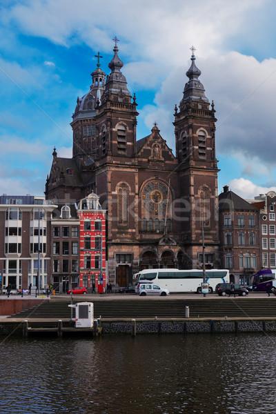 Kerk Amsterdam kanaal holland boom Blauw Stockfoto © neirfy