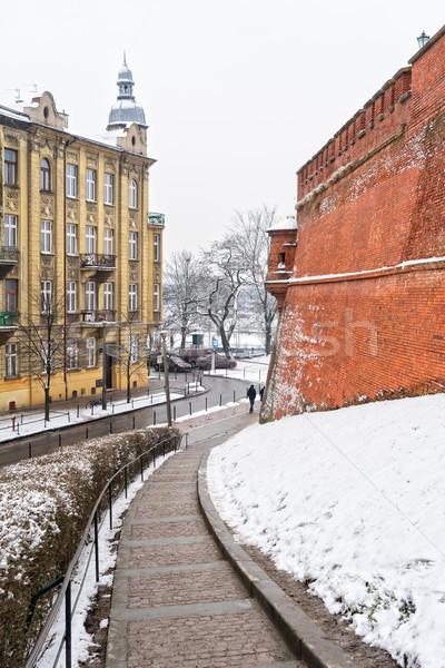 Invierno calle cracovia barrio antiguo Polonia cielo Foto stock © neirfy