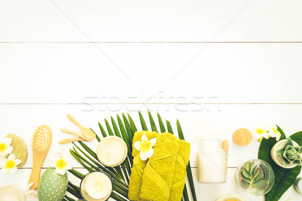 Beauty background with facial cosmetic products Stock photo © neirfy