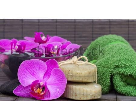 Fürdő beállítások kék medence kövek orchidea Stock fotó © neirfy