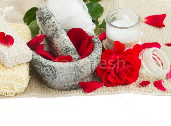 Fürdő beállítások friss rózsák fehér rózsa Stock fotó © neirfy