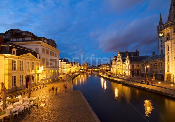 Graslei harbor at night, Ghent Stock photo © neirfy