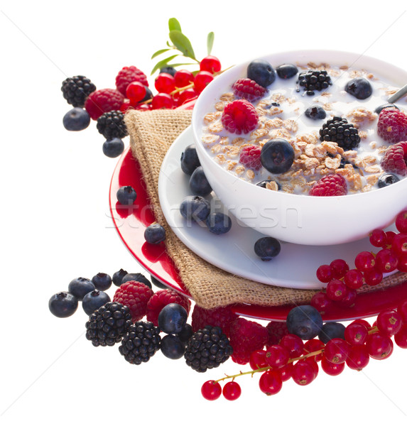 The oat flakes with red and blue berries Stock photo © neirfy