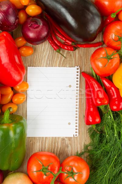 Lege papier nota groenten frame kleurrijk Stockfoto © neirfy
