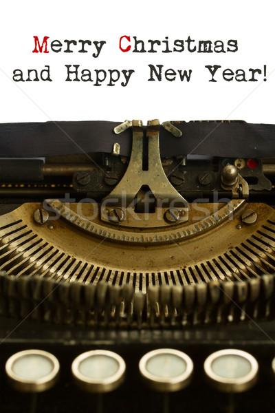 Feliz año nuevo máquina de escribir alegre Navidad palabras papel Foto stock © neirfy