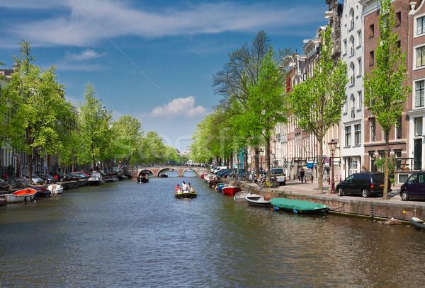 Eski evler Amsterdam tarihsel kanal Hollanda Stok fotoğraf © neirfy