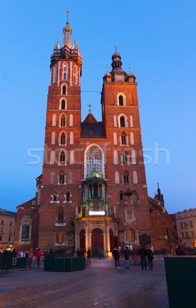 Bazilika Krakkó Lengyelország homlokzat éjszaka épület Stock fotó © neirfy