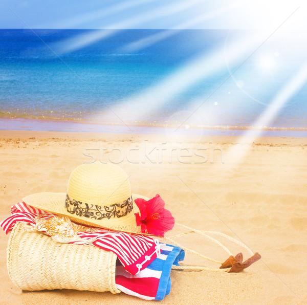 ストックフォト: 日光浴 · ビーチ · 砂浜 · 海 · 太陽