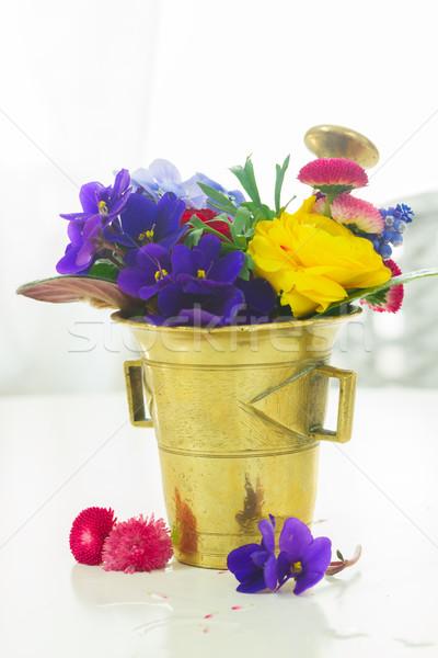 aromatherapy - flowers in mortar Stock photo © neirfy