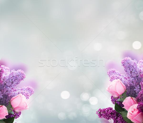 сирень цветы роз букет свежие Purple Сток-фото © neirfy