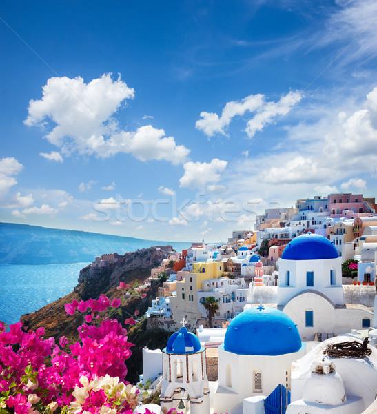 Traditioneel Grieks dorp santorini Blauw kerken Stockfoto © neirfy