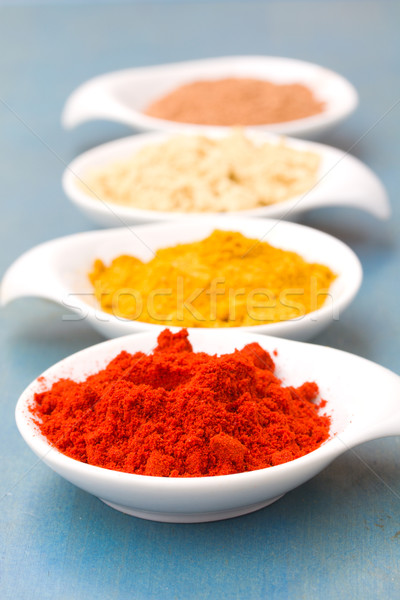 spices of cucrma, red pepper, ginger and nutmeg Stock photo © neirfy